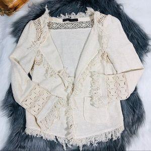Zara Open Front Cream Cardigan Woven Fringe Trim
